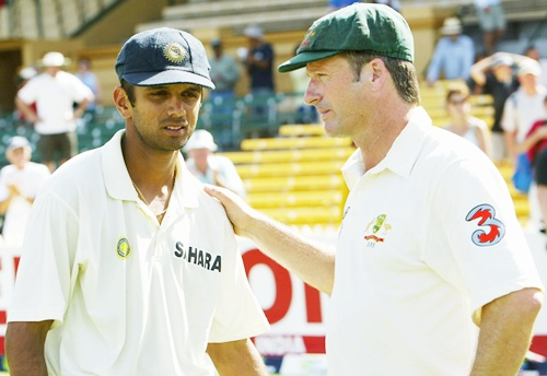 Rahul Dravid with Steve Waugh