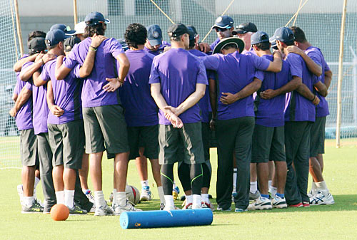 Indian team players in a huddle before the start of the practice session