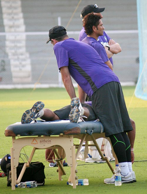 Umesh Yadav relaxes after the practice session