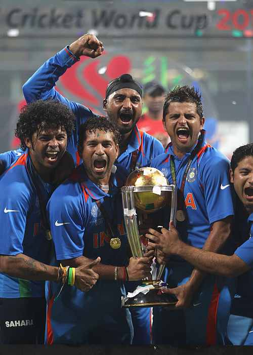 Indian players celebrate after winning the ICC Cricket World Cup