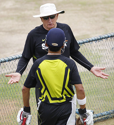India coach Duncan Fletcher speaks with Gautam Gambhir at a practice session