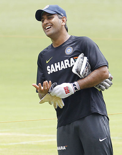 Mahendra Singh Dhoni at a practice session