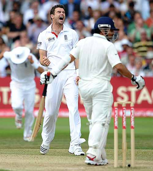 Sachin struggled against James Anderson in the latter part of his career. Photograph: Getty Images