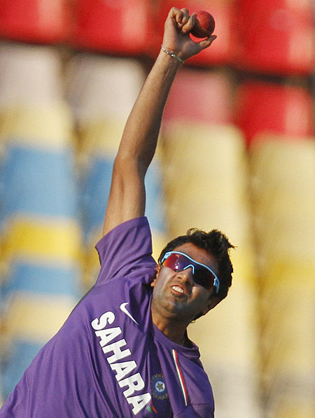 India's Ravichandran Ashwin bowls during a practice session on Tuesday
