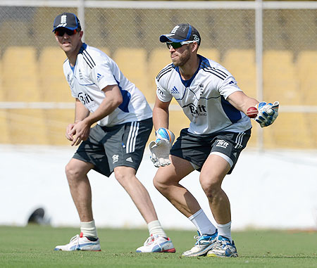 England wicketkeeper Matt Prior (right) and Graeme Swann takes part in a slip fielding drill during a nets session on Tuesday