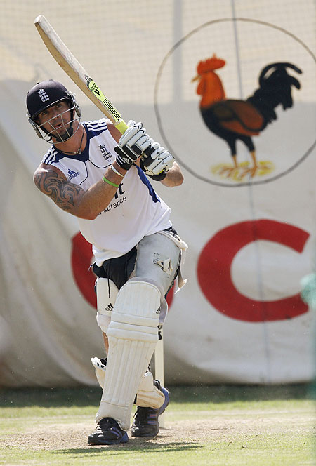 England's Kevin Pietersen plays a shot in the nets on Tuesday