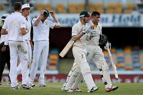 Michael Clarke and Mike Hussey