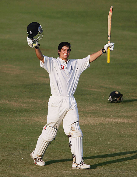Alastair Cook celebrates his maiden Test century on day four of the First Test against India at the VCA Stadium, Nagpur, on March 4, 2006