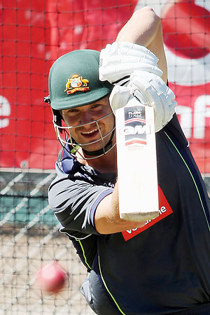 Shane Watson bats in the nets during an Australian training session at the Adelaide Oval on Monday