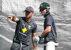 Michael Clarke and Ricky Ponting at a training session