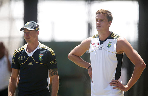 South Africa's Dale Steyn and Morne Morkel look on during a training session at Adelaide Oval on Tuesday