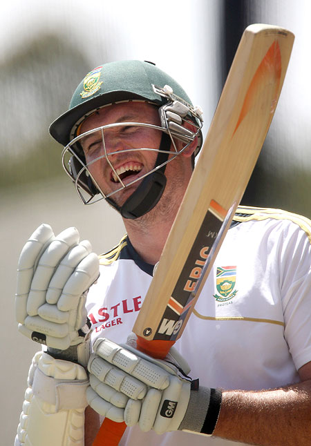 South Africa captain Graeme Smith gestures while batting in the nets on Tuesday