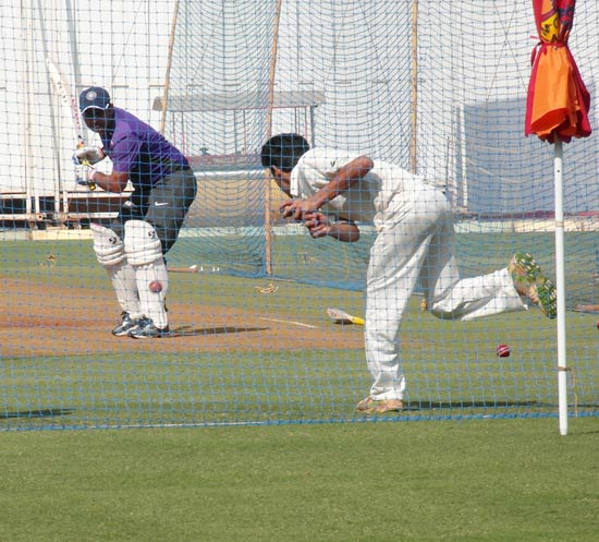 Virender Sehwag bats during a nets session at Wankhede on Wednesday