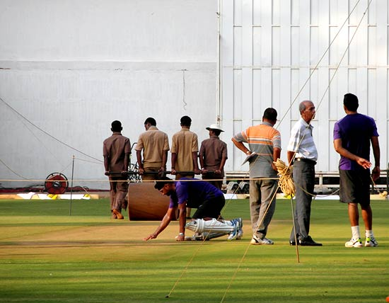 Harbhajan Singh inspects the pitch during a nets session on Wednesday