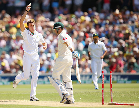 Morne Morkel celebrates after dismissing Australian captain Michael Clarke on Day 2 of the second Test at the Adelaide Oval on Friday