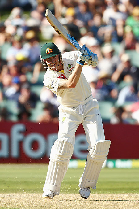 Michael Clarke bats on Day 1 of the 2nd Test at Adelaide Oval on Thursday