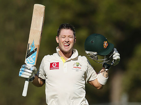 Michael Clarke celebrates on completing his double hundred on Thursday
