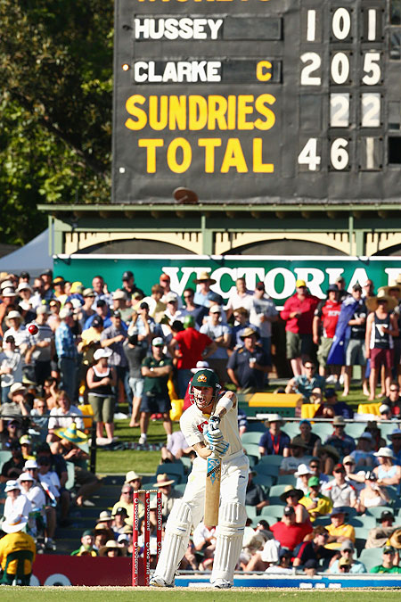 The scoreboard is seen as Michael Clarke bats on day one of the 2nd Test at Adelaide Oval on Thursday