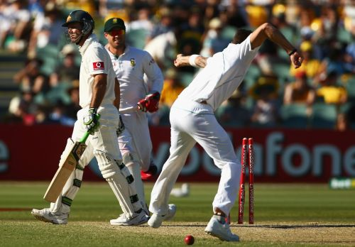 Ricky Ponting of Australia leaves the field after being bowled by Dale Steyn of South Africa