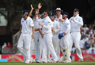 England team celebrates after winning a Test match