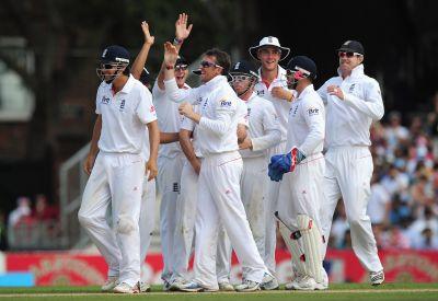 England team celebrates after winning a Test match