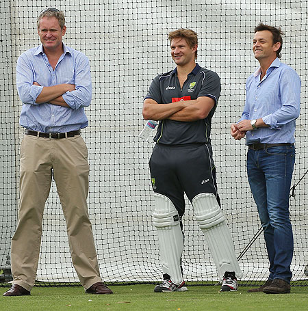 Tom Moody, Shane Watson and Adam Gilchrist look on during an Australian training session at WACA on Wednesday