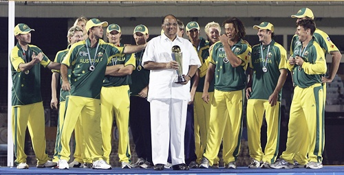 Ricky Ponting of Australia asks BCCI president Sharad Pawar for the trophy after the final of the ICC Champions Trophy
