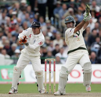 Australian captain Ricky Ponting hits out watched by Geraint Jones of England during day five of the Third npower Ashes Test match