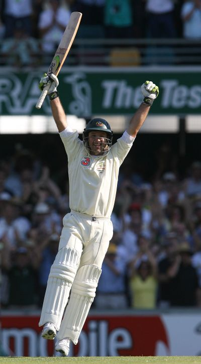 Ricky Ponting of Australia celebrates reaching his century during day one of the first Ashes Test