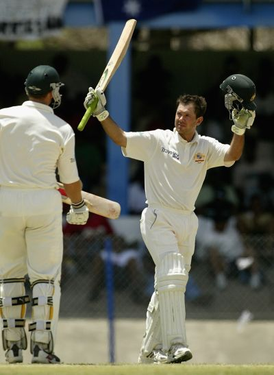 Ricky Ponting of Australia reaches 200 during day two of the Second Test between the West Indies and Australia