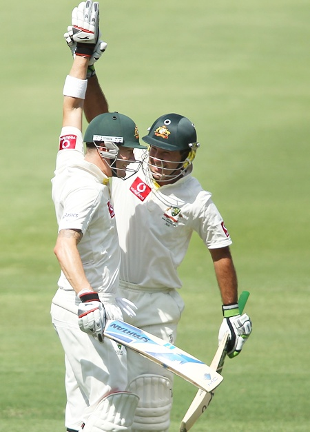 Michael Clarke with Ricky Ponting