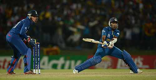 Mahela Jayawardene of Sri Lanka bats watched by England wicketkeeper Jonathan Bairstow during the ICC World Twenty20 2012 Super Eights Group 1 match between Sri Lanka and England