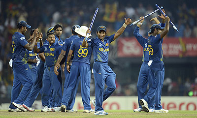 Sri Lanka players celebrates after defeating Pakistan on Thursday