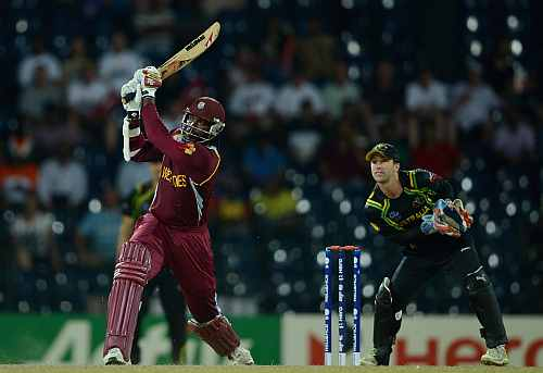 Chris Gayle of the West Indies hits out for six runs during the ICC World Twenty20 2012 Semi Final between Australia and the West Indies