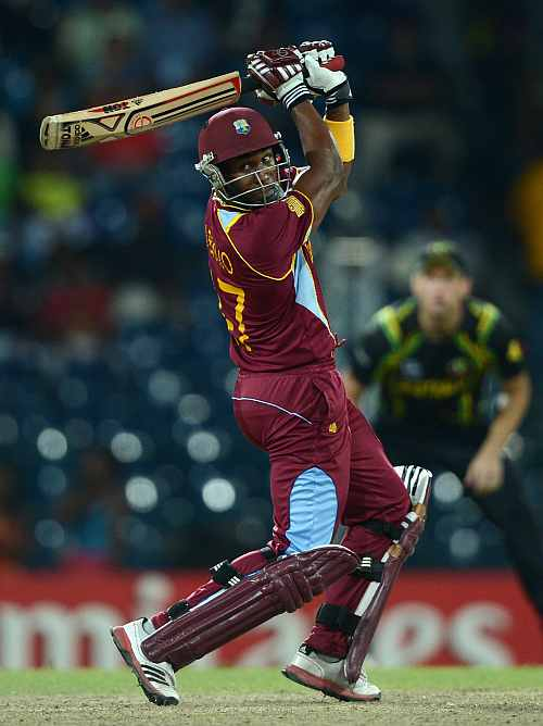 Dwayne Bravo of the West Indies bats during the ICC World Twenty20 2012 Semi Final between Australia and the West Indies