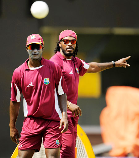 West Indies' captain Darren Sammy (left) and Chris Gayle