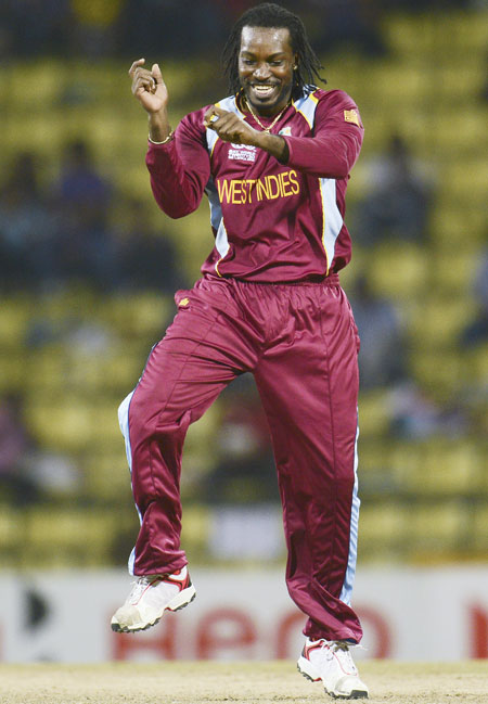 West Indies' Chris Gayle dances
