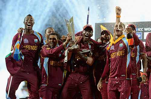 West Indies team with the trophy after winning the ICC World Twenty20 2012 Final between Sri Lanka and the West Indies