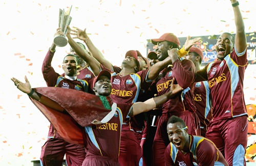West Indies team with the trophy after winning the ICC World Twenty20