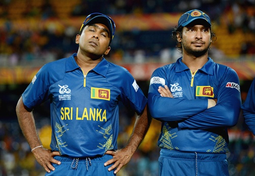 Mahela Jayawardene and Kumar Sangakkara of Sri Lanka