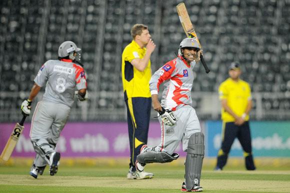 Haris Sohail of Sialkot Stallions celebrates the win over Hampshire