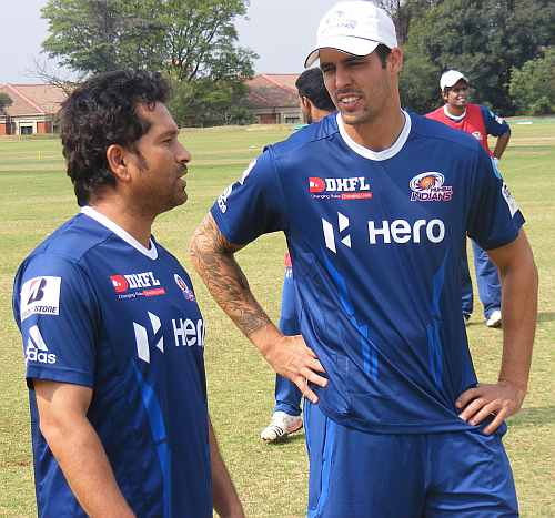 Sachin Tendulkar and Mitchell Johnson