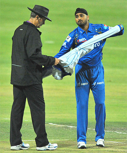Harbhajan Singh prepares to bowl during the CLT20 match between Highveld Lions and Mumbai Indians at Bidvest Wanderers Stadium
