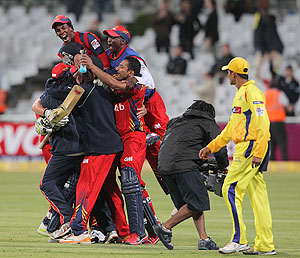 Highveld Lions players celebrate their win against Chennai Super Kings on Tuesday