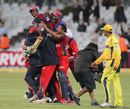 Highveld Lions players celebrate after defeating Chennai Super Kings on Tuesday