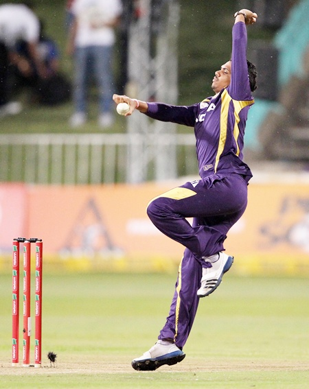 Sunil Narine of the Kolkata Knight Riders bowls