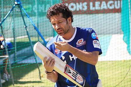 Sachin Tendulkar of Mumbai Indians attends a training session
