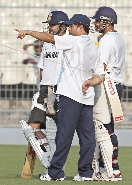 India's Sachin Tendulkar (centre), Gautam Gambhir (left) and Virender Sehwag