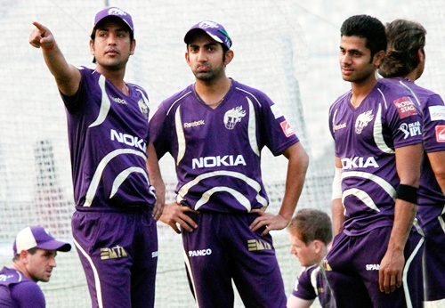 KKR players during training