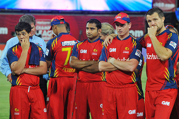 Highveld Lions players wear a dejected look after the CLT20 final on Sunday